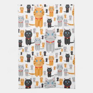 Fun Cute Collage of Orange, Gray, and Black Cats Tea Towel