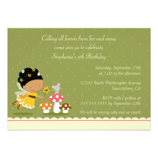 Fun cute fairy girl s birthday party invitation
