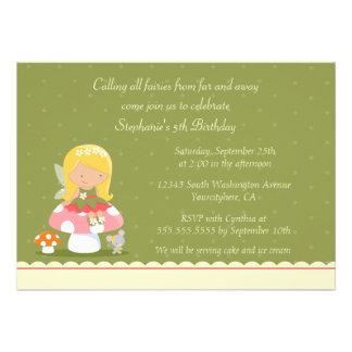 Fun cute fairy girl s birthday party invitation