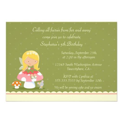 Fun cute fairy girl's birthday party invitation