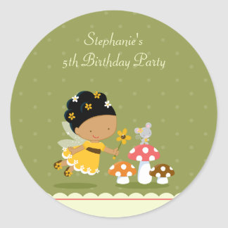 Fun cute fairy girl's birthday party stickers