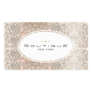 Fun & Cute Fashion Boutique Faux Silver Sequins Double-Sided Standard Business Cards (Pack Of 100)