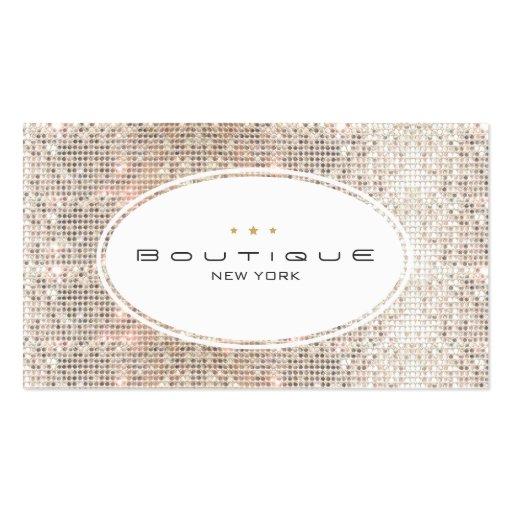 Fun & Cute Fashion Boutique Faux Silver Sequins Business Cards