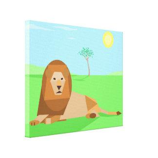 Fun Cute Geometric Cubist Lion in Sunlight Stretched Canvas Prints