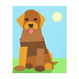 Fun Cute Geometric Cubist Puppy in Sunlight Gallery Wrap Canvas