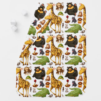 Fun Cute Jungle Animals Baby Blanket