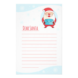 Fun Cute Letter to Dear Santa Claus lined template Stationery