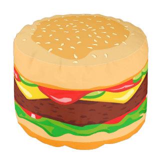 Fun cute modern hamburger in a sesame seed bun, pouf