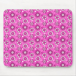 Fun Cute Pink Flowers & Shapes Pattern Mouse Pad