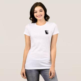 Fun Cute Sleek Black Cat White T Shirt For Her