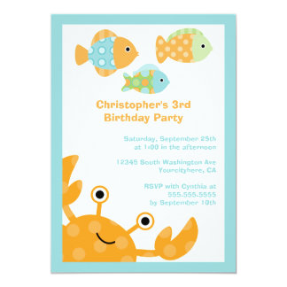 Fun cute under the sea birthday party invitation