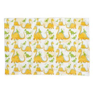 Fun Cute Yellow And Green Dinosaurs Pillowcase