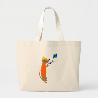 Fun Dachshund Dog Flying a Kite Large Tote Bag