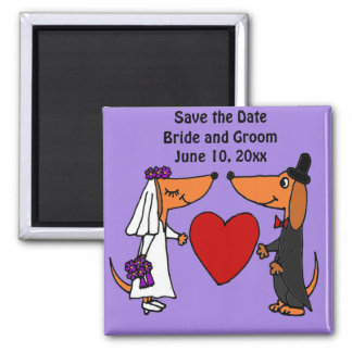 Fun Dachshund Dogs Bride and Groom Wedding Art Square Magnet