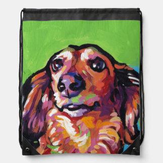 Fun DACHSHUND doxie dog bright colorful Pop Art Drawstring Bag