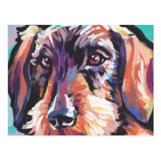 Fun DACHSHUND doxie dog bright colorful Pop Art Postcard