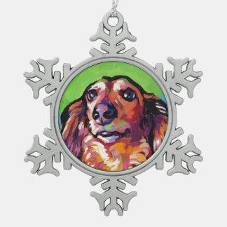 Fun DACHSHUND doxie dog bright colorful Pop Art Snowflake Pewter Christmas Ornament