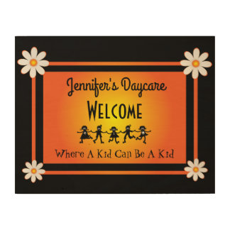 Fun Daisies & Kids Personalized Daycare Welcome Wood Print
