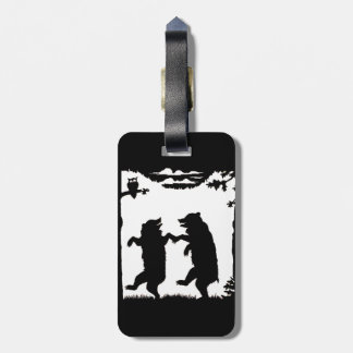 Fun Dancing Black silhouette Bears Under trees Luggage Tag
