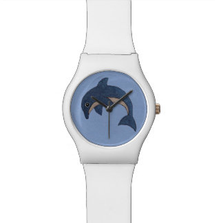 Fun Dark Blue White Dolphin in Jumping Position Watch