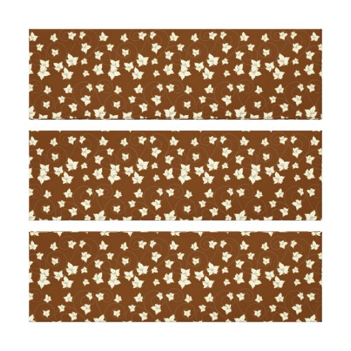 Fun Dark Brown and Linen Autumn Leaf Pattern Stretched Canvas Prints