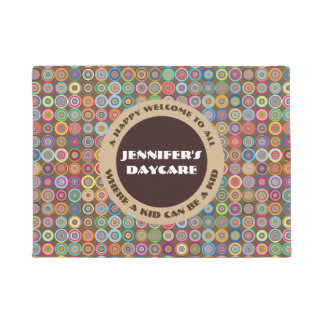 Fun & Decorative Circles Personalized Daycare Doormat