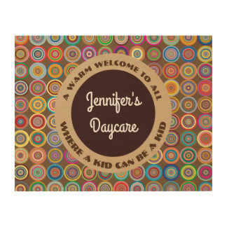 Fun & Decorative Circles Personalized Daycare Wood Wall Art