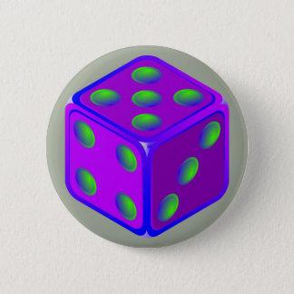 Fun dice theme button. 6 cm round badge