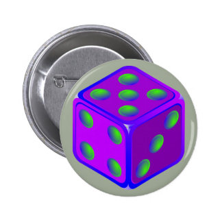 Fun dice theme button. 6 cm round badge