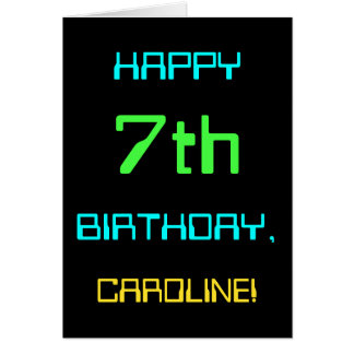 Fun Digital Computing Themed 7th Birthday Card