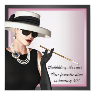 Fun Diva Womans Pink and Black 40th Birthday 13 Cm X 13 Cm Square Invitation Card