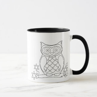 Fun DIY Adult Coloring Owl Coffee Mug