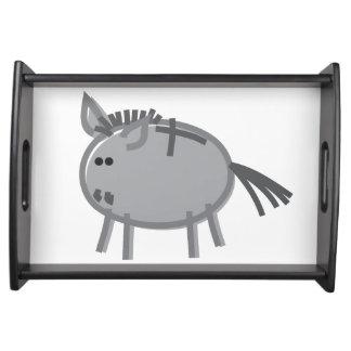 Fun Donkey on White Serving Tray