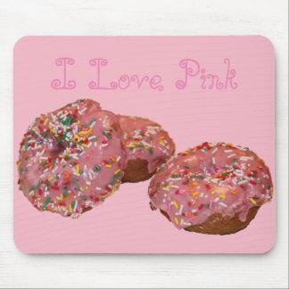 "Fun Donut Mousepad ""I Love Pink"""