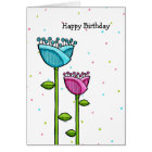 Fun Doodle Flowers blue pink dots Birthday Card
