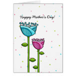 Fun Doodle Flowers blue pink dots Mother's Day