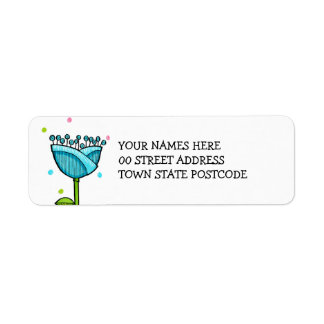 Fun Doodle Flowers blue pink dots Return Address Label