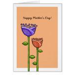 Fun Doodle Flowers orange purple Mother's Day Card