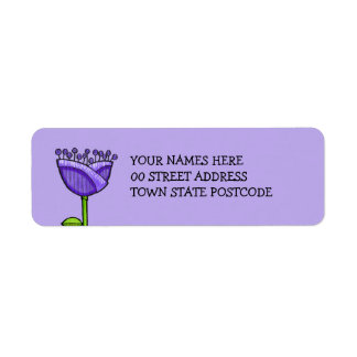 Fun Doodle Flowers purple orange Return Address Label