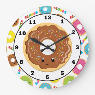 Fun doughnut shop pattern wall clock