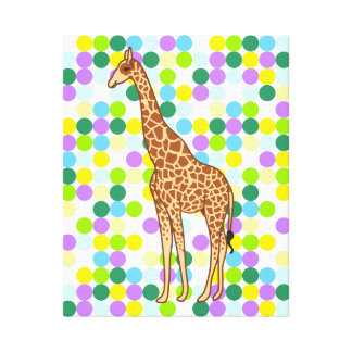 Fun Dynamic Giraffe and Polka Dots Illustration Stretched Canvas Print