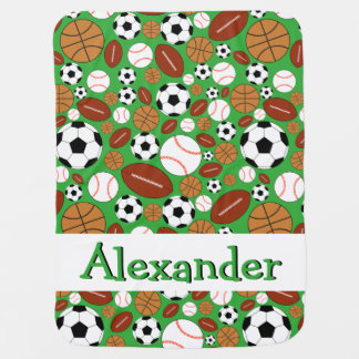 Fun Dynamic Sports Balls Personalized Baby Blanket