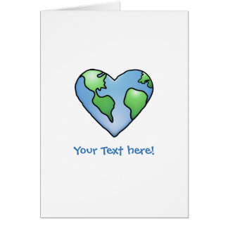 Fun Earth Heart Shaded Cartoon Style Icon Card