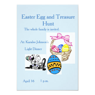 Fun Easter Invitation Bunny Basket Eggs Blue