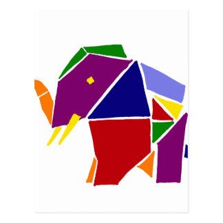 Fun Elephant Origami Art Postcard