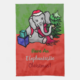 Fun Elephantastic Christmas Cute Santa Elephant Tea Towel
