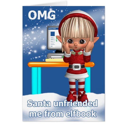 Fun Elf Holiday Greeting With Computer Card