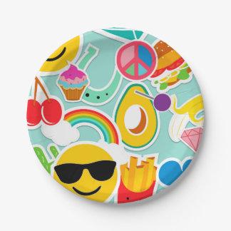Fun Emoji Sticker Pattwern 7 Inch Paper Plate