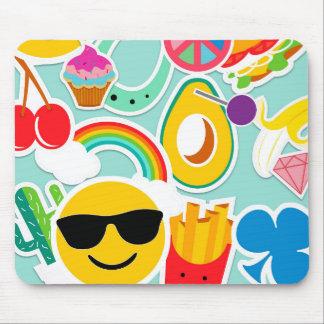 Fun Emoji Sticker Pattwern Mouse Pad