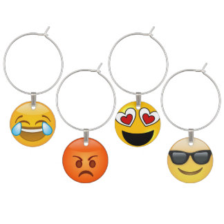 Fun Emoji Wine Charm Set
